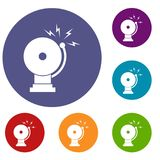 Fire alarm icons set. In flat circle reb, blue and green color for web Royalty Free Stock Photos