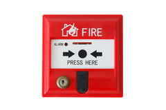 Fire alarm isolated on white background. Red fire alarm isolated on white background royalty free stock photo