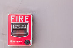 Fire alarm mounted on the wall. Stock Photography