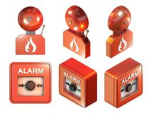 Fire alarm parts. 3D illustration with clipping path included Royalty Free Stock Images