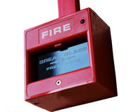 Fire alarm point. Isolated fire alarm activation point Stock Photography