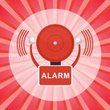 Fire alarm poster. Vector red fire alarm bell. Automatic fire alarm. Objects  on a white background Stock Images