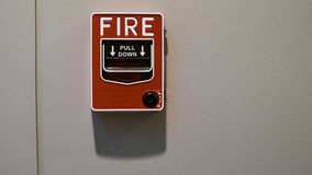 Fire alarm for pull down in office building, Bangkok Thailand Royalty Free Stock Photos