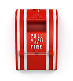Fire Alarm Pull Station. Isolated bright red fire alarm pull switch. Includes pro clipping path Stock Photography