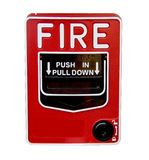 Fire Alarm Pull Station isolated. Red fire alarm pull station isolated over a white background Royalty Free Stock Images
