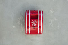 Fire alarm pull on the wall Stock Image
