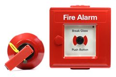 Fire alarm. Push-button fire alarm isolated on white background Stock Images