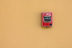 Fire alarm red box danger. Fire alarm red house information Stock Photo