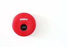 Fire alarm red circle box warning machine Stock Photo