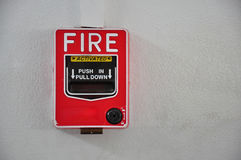 Fire alarm. Red fire push in and pull down Stock Photo