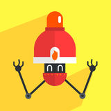 Fire Alarm Robot Character. Portrait Icon In Weird Graphic Flat Vector Style On Bright Color Background Stock Photography