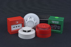 Fire alarm security on dark Royalty Free Stock Image