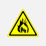 Fire alarm sign yellow triangle flammable substance. Fire, fully   image Royalty Free Stock Photography