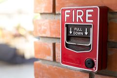 Fire Alarm Signal on Brick wall. Close up of Fire Alarm Signal on Brick wall stock photos