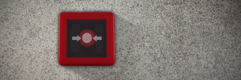 Composite image of fire alarm switch. Fire alarm switch against close-up of road surface Stock Image