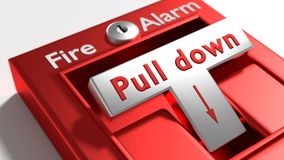 Fire alarm switch close up being pulled. 3D illustration Royalty Free Stock Photo