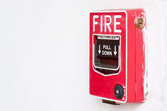 Fire alarm switch. On factory wall Royalty Free Stock Image