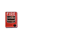 Fire alarm switch. Isolate on white background Royalty Free Stock Photos