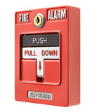 Fire alarm switch with push an pull button. Isolated on white background - 3D illustration Stock Photography