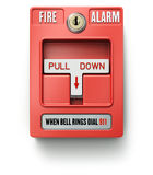 Fire alarm switch. Red fire alarm switch over white background - 3D illustration Royalty Free Stock Image