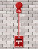 Fire alarm system at brick wall. Fire equipment. Vector illustration in flat style Stock Images