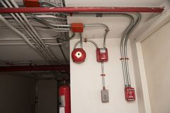 Free Fire Alarm System In The Building Royalty Free Stock Photo - 187334395