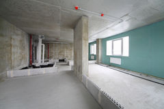 Fire alarm system, wet zone in flat. In building under construction Stock Photo