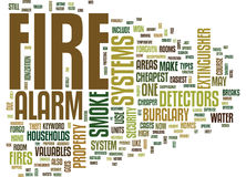 Fire Alarm Systems Word Cloud Concept. Fire Alarm Systems Text Background Word Cloud Concept Royalty Free Stock Images