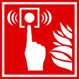 Fire alarm vector sign. Fire alarm red vector sign Royalty Free Stock Image