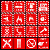 Fire alarm vector symbols set. Emergency danger, flame and safety, warning label illustration Royalty Free Stock Photos