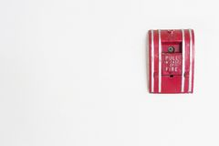 Fire alarm on wall for security.  Stock Photography