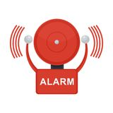 Fire alarm on white. Vector red fire alarm bell. Automatic fire alarm. Objects isolated on a white background Stock Image