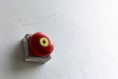 Fire alarm on the white wall Stock Image