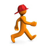Fire Alert. Orange cartoon character runs about fire alert. White background Royalty Free Stock Photography