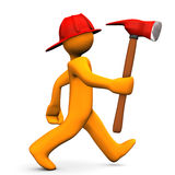 Fire Alert Axe. Orange cartoon character runs with axe. White background Royalty Free Stock Photography