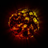 Fire alien planet. On deep cosmos Royalty Free Stock Photos