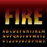 Fire alpha. Vector alphabet, linear halftone raster, burning flame illusion font Stock Image