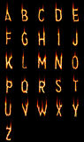Fire alphabet. The Latin alphabet made from fire Royalty Free Stock Images