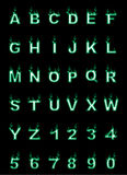 Fire alphabet, cartoon-style, simple green. For web Stock Images