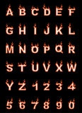 Fire alphabet, cartoon-style, simple orange. For web Stock Photography