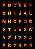 Fire alphabet, cartoon-style, simple red. For web Stock Photography