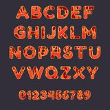 Fire alphabet on dark background. Capital letters and numbe. Fire alphabet font on dark background. Capital letters and numbers with flame effect. Vector royalty free illustration