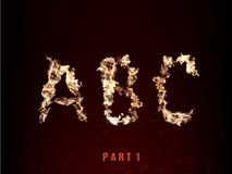 Fire alphabet. letters A B C of flame Stock Images