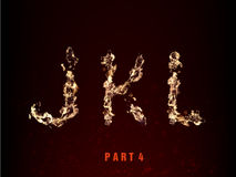 Fire alphabet. letters J K L of flame. On a dark background Royalty Free Stock Photo
