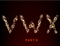 Fire alphabet. letters V W X of flame. On a dark background Stock Photos