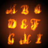 Fire alphabet. Vector. Letters for the design Stock Photography