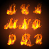 Fire alphabet. Vector. Stock Photography