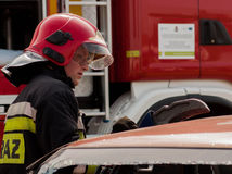 Fire And Rescue Emergency Units At Car Accident Stock Photos