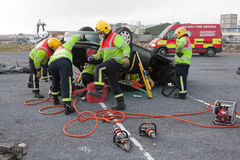 Fire And Rescue Unit At Car Crash Training Stock Photos