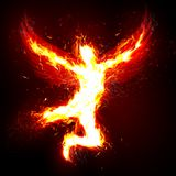 Fire angel. An illustrated background with a fantasy theme showing a man with wings made of fire Royalty Free Stock Photography